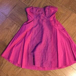 UO Kimchi Blue Magenta Bow Strapless Dress